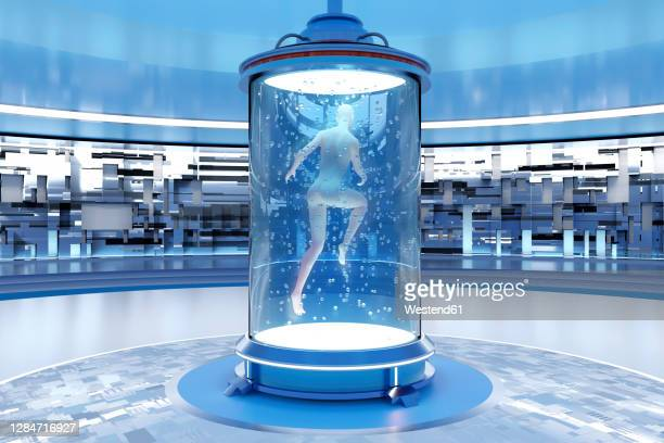 3d rendered illustration of gynoid being created in regeneration tank at illuminated laboratory - automated stock illustrations