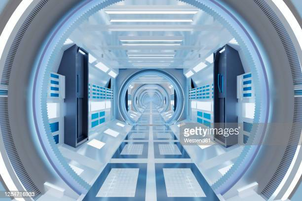 3d rendered illustration of illuminated futuristic spaceship corridor - journey stock illustrations