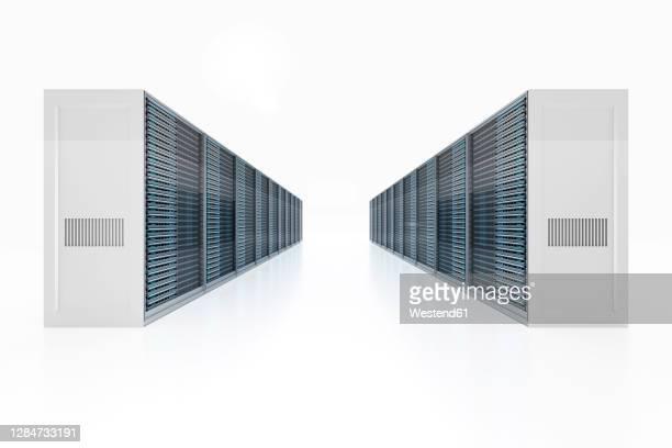 illustrazioni stock, clip art, cartoni animati e icone di tendenza di 3d rendered illustration of server racks against white background - centro elaborazione dati