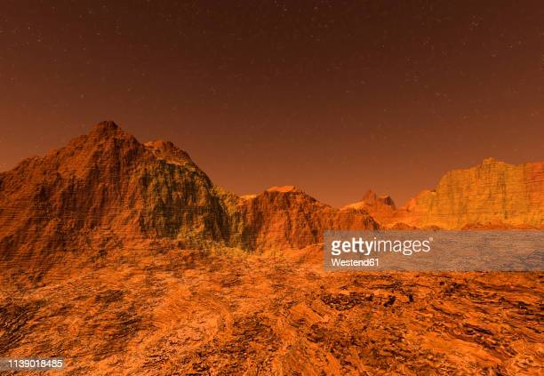 3d rendered illustration of the surface of planet mars - tranquil scene stock illustrations