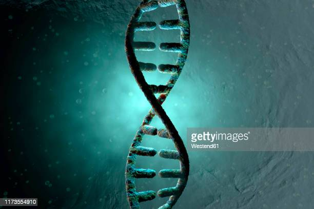 3d rendered illustration, visualization of a dna double helix which carry the genes of a biological organism - ターコイズカラーの背景点のイラスト素材/クリップアート素材/マンガ素材/アイコン素材