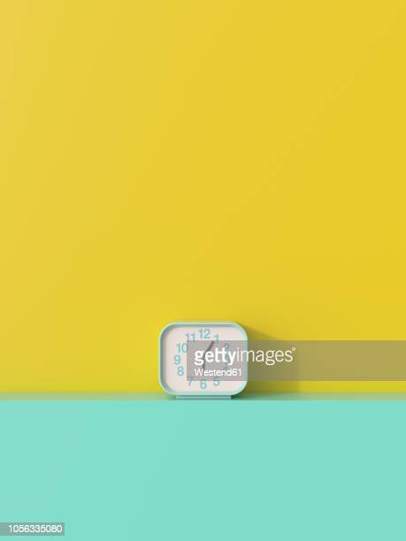 3d rendering, alarm clock on shelf aggainst yellow background - no people stock illustrations