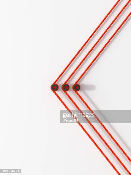 illustrations, cliparts, dessins animés et icônes de 3d rendering, arrow shape made from colorful threads, showing the direction - corde