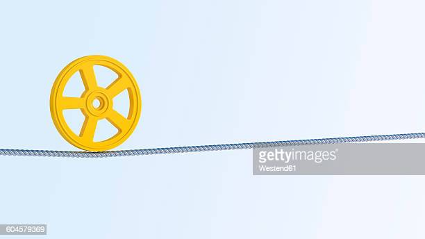 3d rendering, balance, object, wheel on steel rope - steel cable stock illustrations