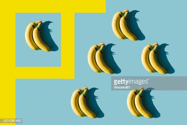 3D Rendering, bananas with fake eyelashes and a couple backwards composition