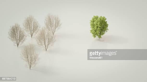 3D rendering, Bare maple trees opposing green tree
