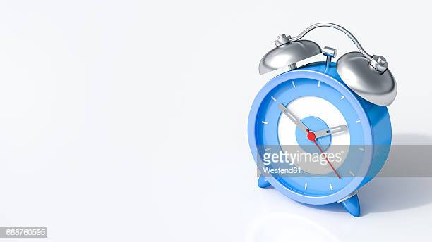 3d rendering, blue alarm clock - deadline stock illustrations