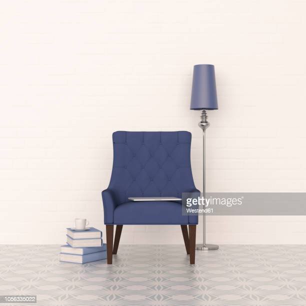 3d rendering, blue armchair and floor lamp with stack of books - 肘掛け椅子点のイラスト素材/クリップアート素材/マンガ素材/アイコン素材