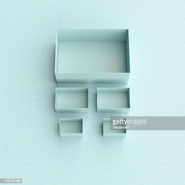 3d rendering, blue boxes in different sizes on blue backround - scale stock illustrations