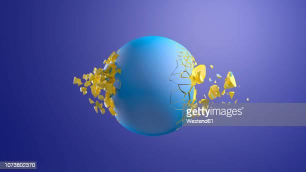 illustrazioni stock, clip art, cartoni animati e icone di tendenza di 3d rendering, blue sphere bursting in front of blue background - sfera