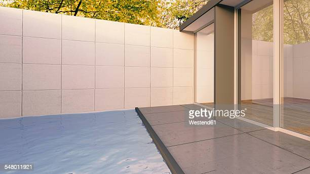3d rendering, bungalow with swimming pool, exterior view - bungalow stock illustrations, clip art, cartoons, & icons