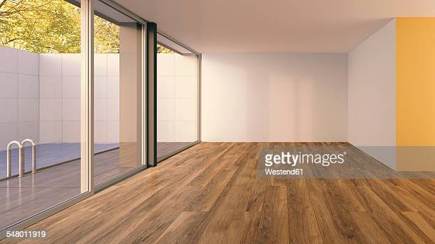 3d rendering, bungalow with swimming pool, interior view - hardwood floor stock illustrations, clip art, cartoons, & icons