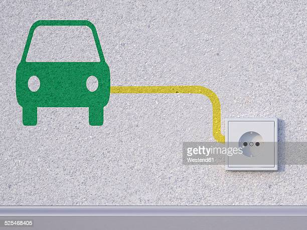 ilustraciones, imágenes clip art, dibujos animados e iconos de stock de 3d rendering, car symbol next to socket in wall - coche eléctrico coche de combustible alternativo