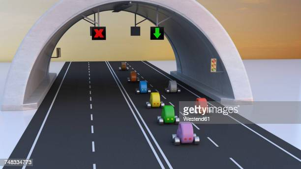 3d rendering, cars following green arrow under tunnel - road marking stock illustrations