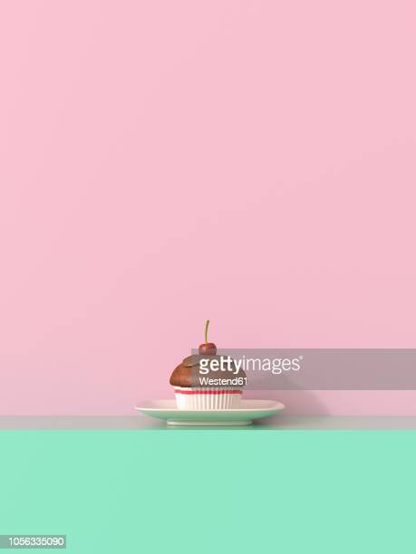 3d rendering, cherry muffin on shelf against yellow backround - coloured background stock illustrations