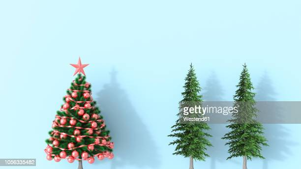 illustrations, cliparts, dessins animés et icônes de 3d rendering, christmas tree with fir trees on blue background - sapin