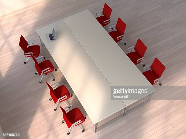 3d rendering, conference table with laptop and red chairs - conference table stock illustrations, clip art, cartoons, & icons