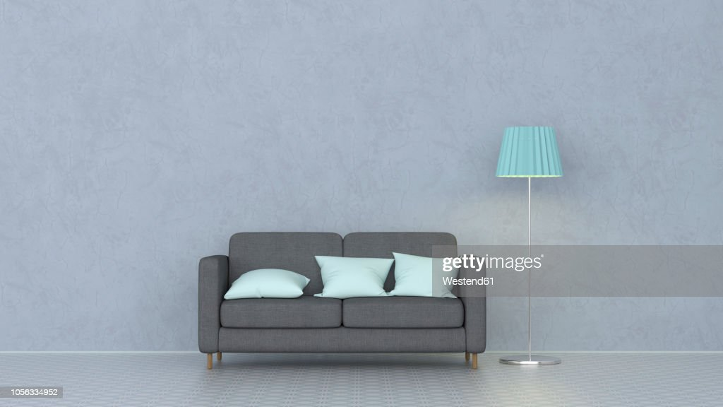 3D rendering, Couch with cushions and floor lamp : stock illustration