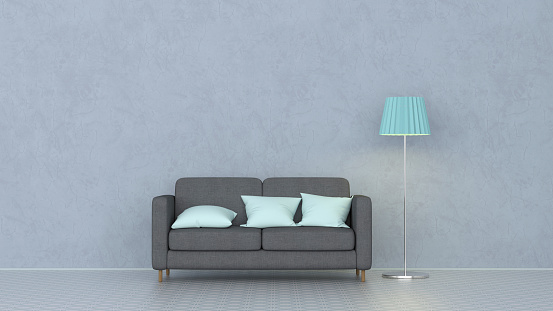 3D rendering, Couch with cushions and floor lamp - gettyimageskorea