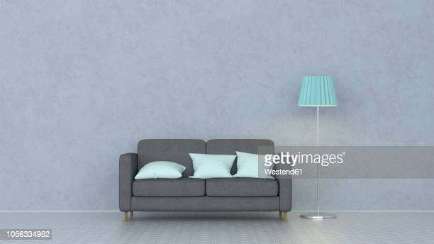 illustrazioni stock, clip art, cartoni animati e icone di tendenza di 3d rendering, couch with cushions and floor lamp - semplicità