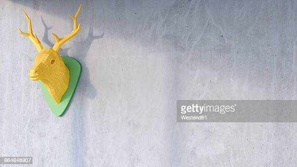 3d rendering, deer antler on concrete wall, low poly, falted, paper, copy space - concrete wall stock illustrations, clip art, cartoons, & icons