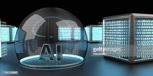 3d rendering, digital cubic units feeding bubble of ai, artificial intelligence - deep learning stock illustrations