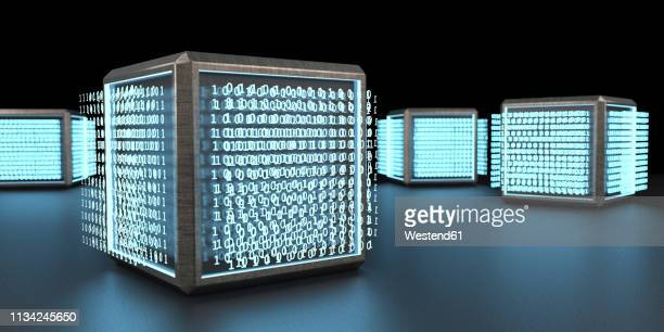3d rendering, digital cubic units with codes - deep learning stock illustrations