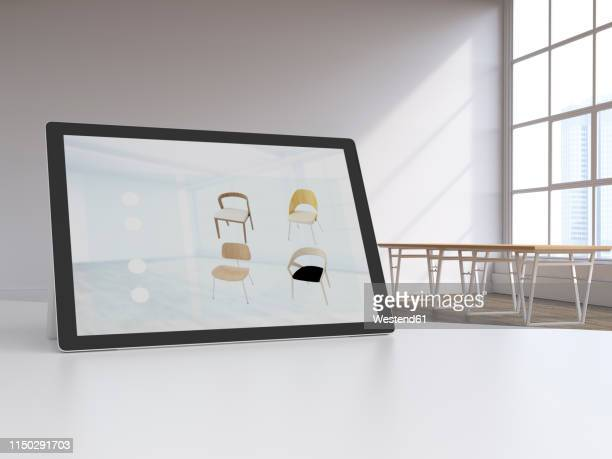 3d rendering, digital tablet in modern loft with furnitures on display, online shopping for chairs - giving stock illustrations