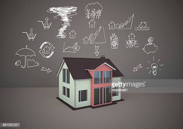 3d rendering, family home with drawings of home dangers - home insurance stock illustrations