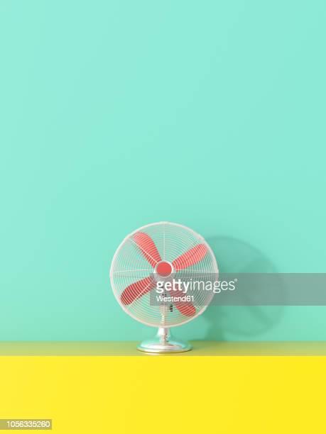 ilustrações, clipart, desenhos animados e ícones de 3d rendering, fan on yellow shelf against green background - um único objeto