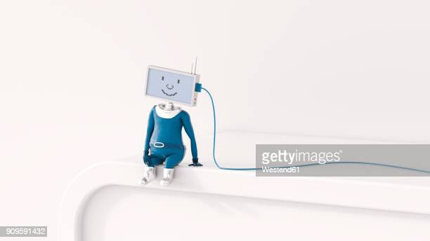 3d rendering, figurine charging, artificial intelligence - automated stock illustrations