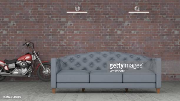 3d rendering, grey couch in front of brickwall with motorbike in background - loft apartment stock illustrations, clip art, cartoons, & icons