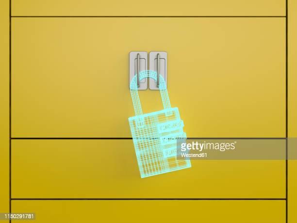 3d rendering, hologram of a u-lock on a locker - lock stock illustrations