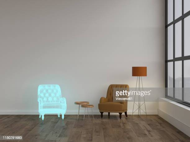 3d rendering, hologram of armchair in modern living room with floor lamp - germany stock illustrations