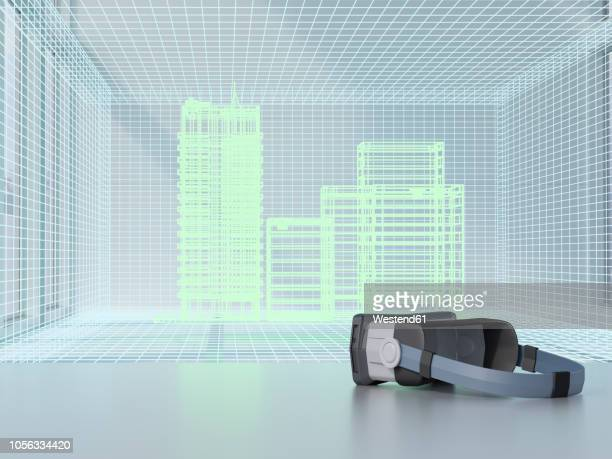 3d rendering, hologram of buildings an augmented reality glasses - model to scale stock illustrations, clip art, cartoons, & icons