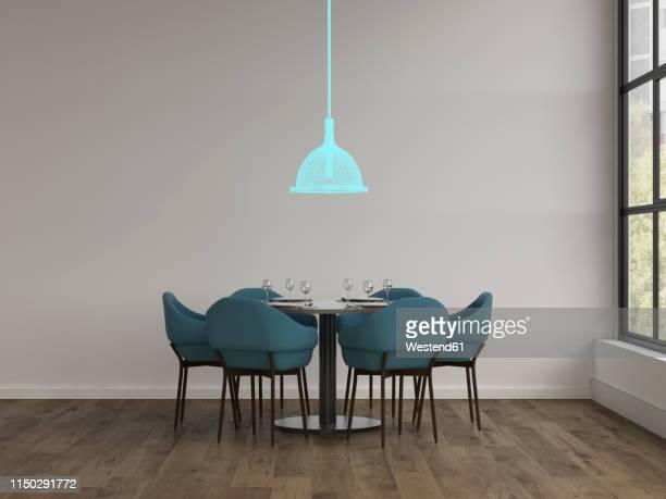 ilustraciones, imágenes clip art, dibujos animados e iconos de stock de 3d rendering, hologram of ceiling lamp in modern dining room - mesa de comedor