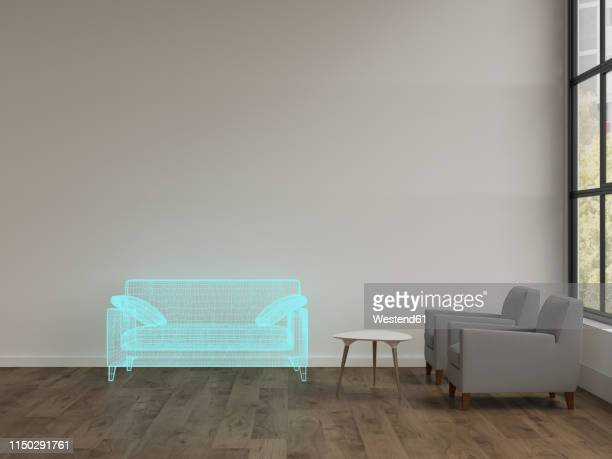 3d rendering, hologram of couch in modern livingroom with armchairs - 家具点のイラスト素材/クリップアート素材/マンガ素材/アイコン素材