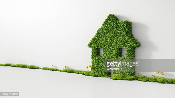3d rendering, house from grass on wall, copy space - energy efficient stock illustrations, clip art, cartoons, & icons