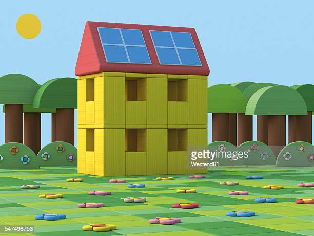 3D Rendering, House with solar panels, toy blocks