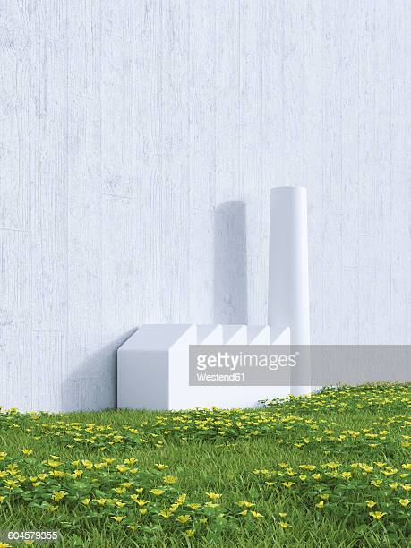 3D Rendering, industrial hall on a wall, meadow