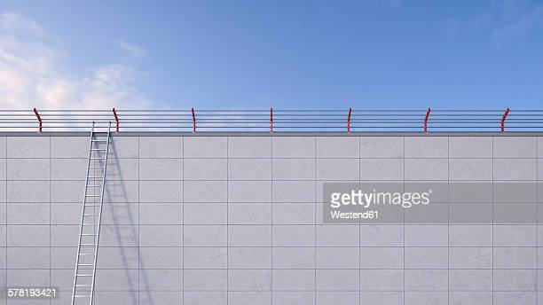 3D Rendering, ladder leaning against wall, barbed wire