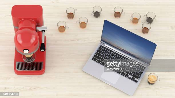 3d rendering, laptop on desk with lots of empty coffee cups and espresso maker - deadline stock illustrations