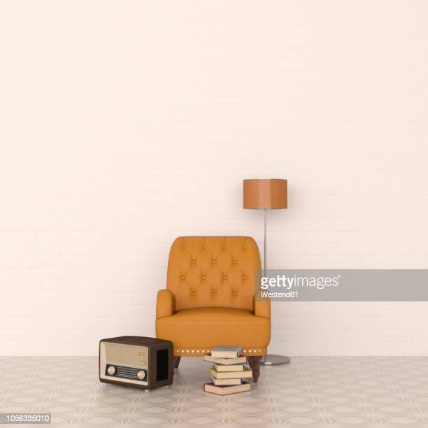 3d rendering, leather armchair and floor lamp with radio and stack of books - old fashioned stock illustrations