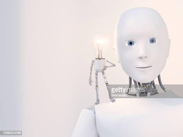 3d rendering, little bulb manikin standing on shoulder of a robot - roboter stock-grafiken, -clipart, -cartoons und -symbole