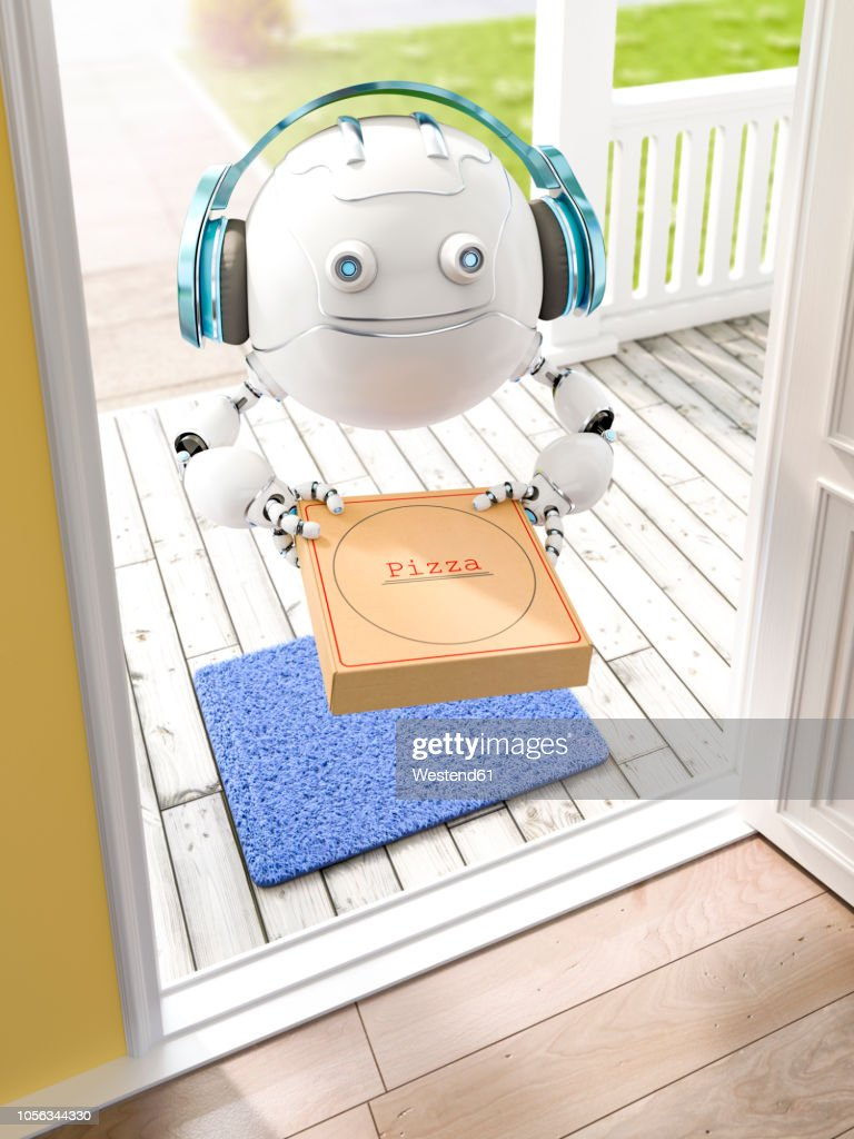 3D rendering, Little drone with headphones delivering pizza : Stock-Illustration
