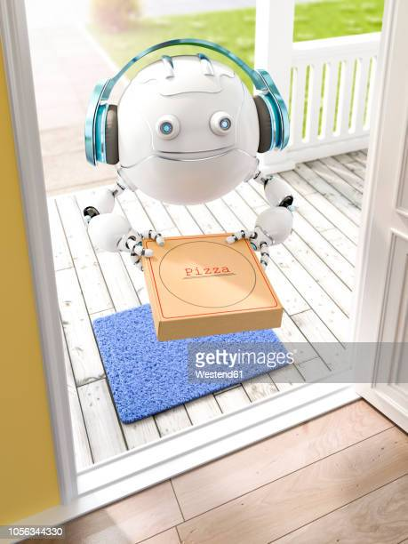 3d rendering, little drone with headphones delivering pizza - automated stock illustrations