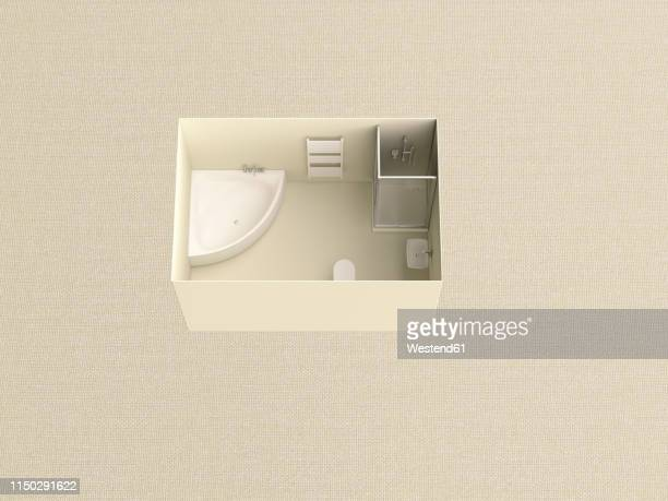 3d rendering, miniature bathroom in a box - bathroom stock illustrations