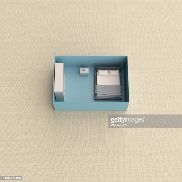 3d rendering, miniature bedroom in a box - germany stock illustrations