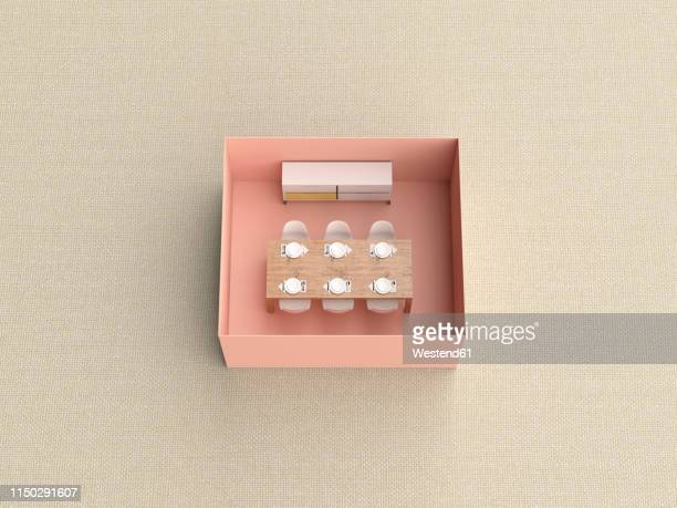 3d rendering, miniature dining room in a box - germany stock illustrations