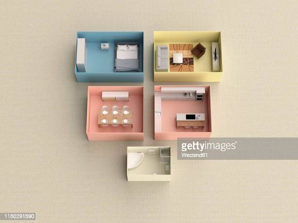3d rendering, miniature flat in boxes - domestic room stock illustrations